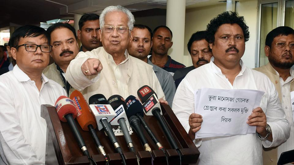 Former Assam Chief Minister Tarun Gogoi, along with Congress Legislators, speaks to media as he walks out from the Assam Legislative Assembly, in Guwahati on Mar 2, 2020. (ANI Photo)