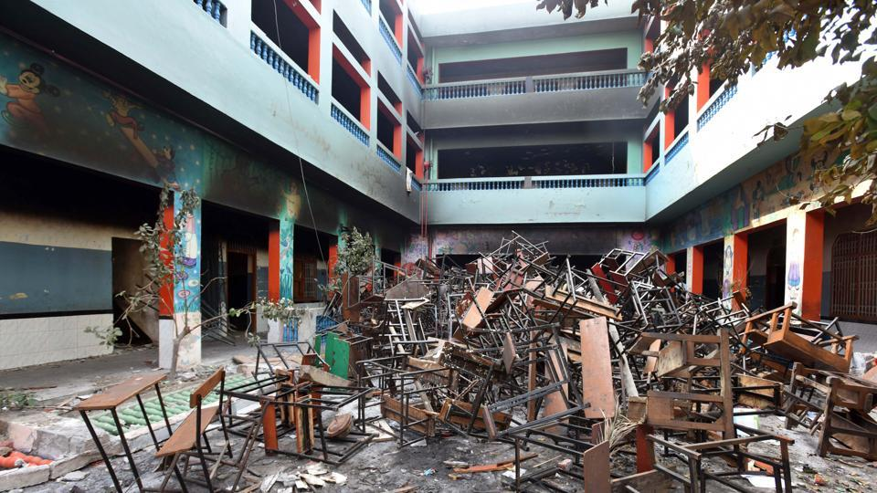A view of DRP convent school which was destroyed during the clashes in Shiv Vihar on  February 26. (Raj K Raj / HT Photo)