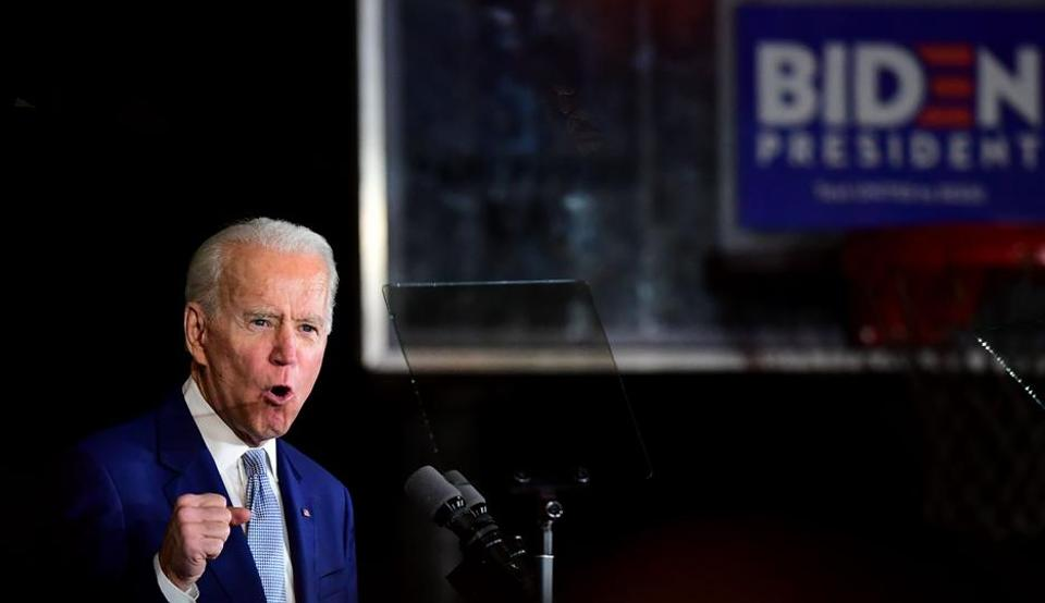 Democratic presidential hopeful former Vice President Joe Biden speaks during a Super Tuesday event in Los Angeles on March 3, 2020.