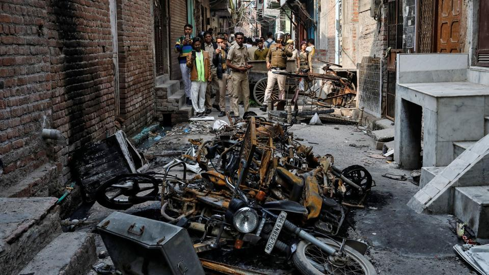 A riot-affected area in Delhi, March 2, 2020