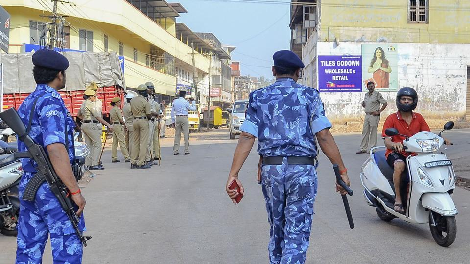 Rapid Action Force (RAF) personnel and local police at a street following protests against the recently enacted Citizenship Amendment Act turned violent in several areas of Mangaluru on  Dec. 22, 2019.