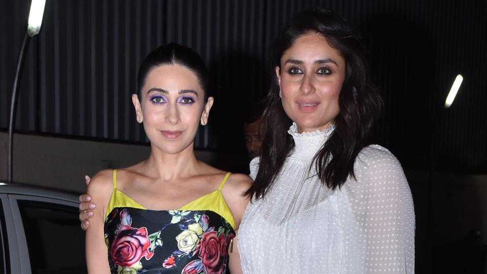 Karisma Kapoor and Kareena Kapoor at the Mentalhood screening in Mumbai.