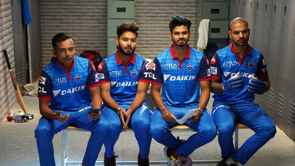 Cricketers Prithvi Shaw, Rishabh Pant, Shreyas Iyer and Shikhar Dhawan of Delhi Capitals in a candid moment.