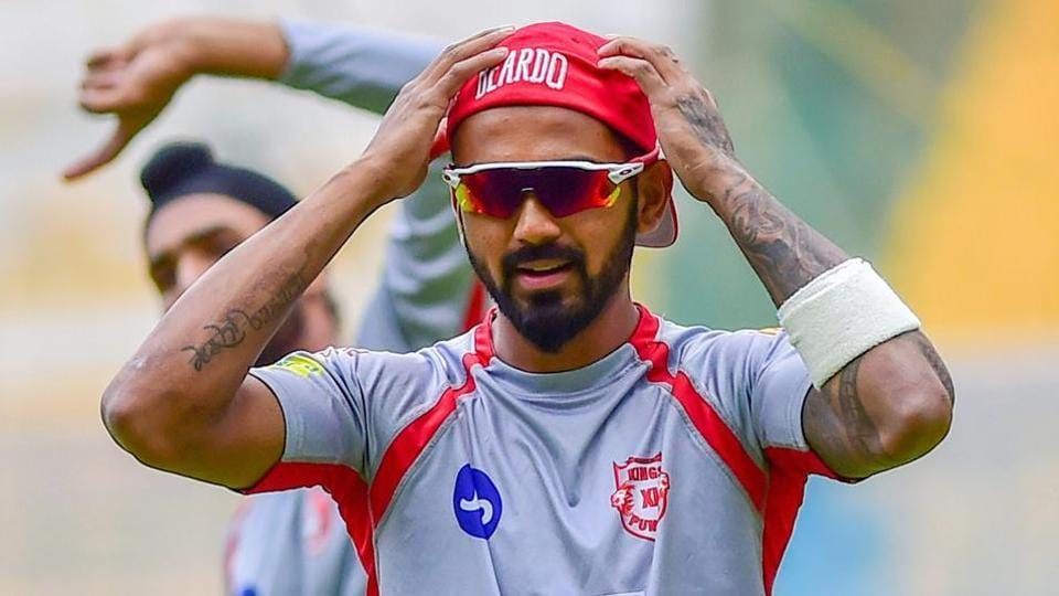 KXIP captain KL Rahul during a training session.