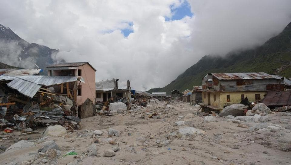 A view of devastated area of Kedarnath