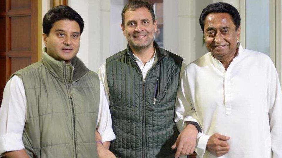 Rahul Gandhi with Jyotiraditya Scindia and Kamal Nath.(Twitter/RahulGandhi)