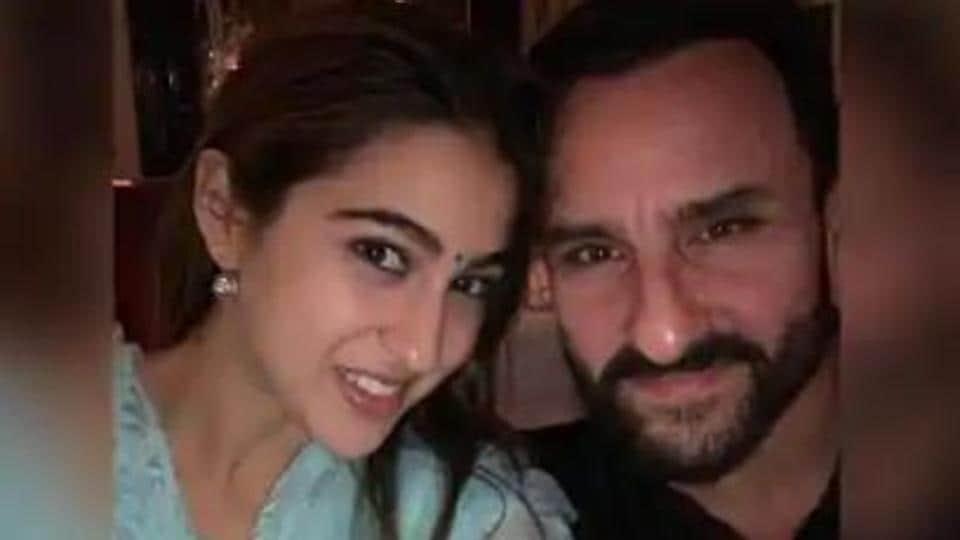 Sara Ali Khan poses with Saif Ali Khan.