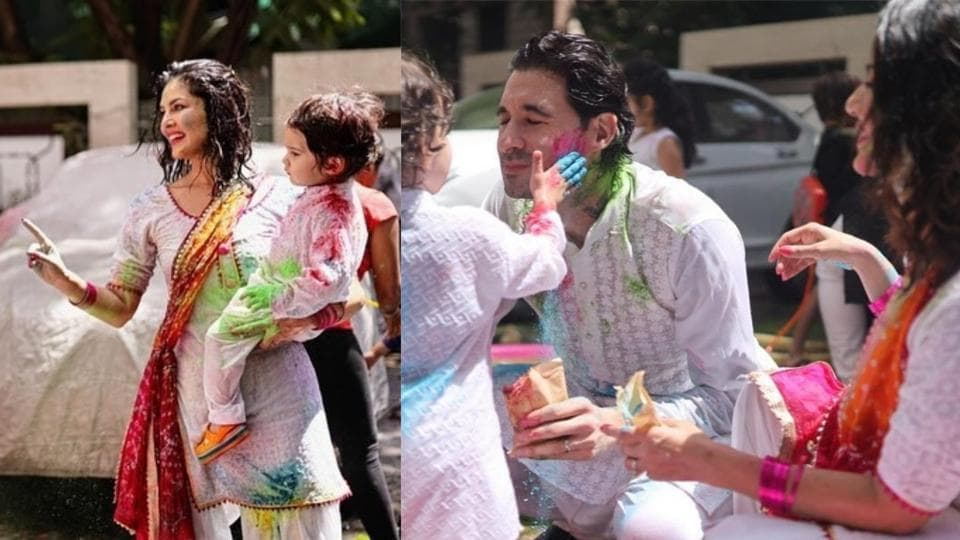 Sunny Leone and husband Daniel Weber during their Holi celebrations.