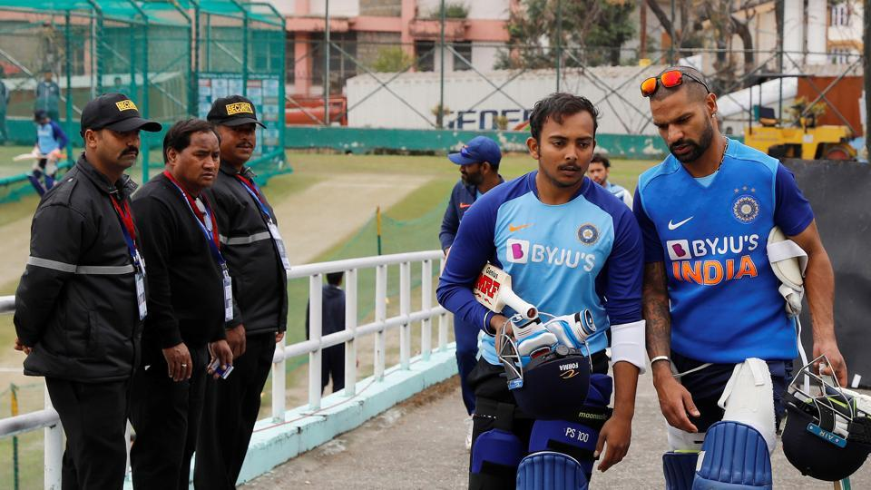 File image: India's Shikhar Dhawan and Prithvi Shaw after nets session.