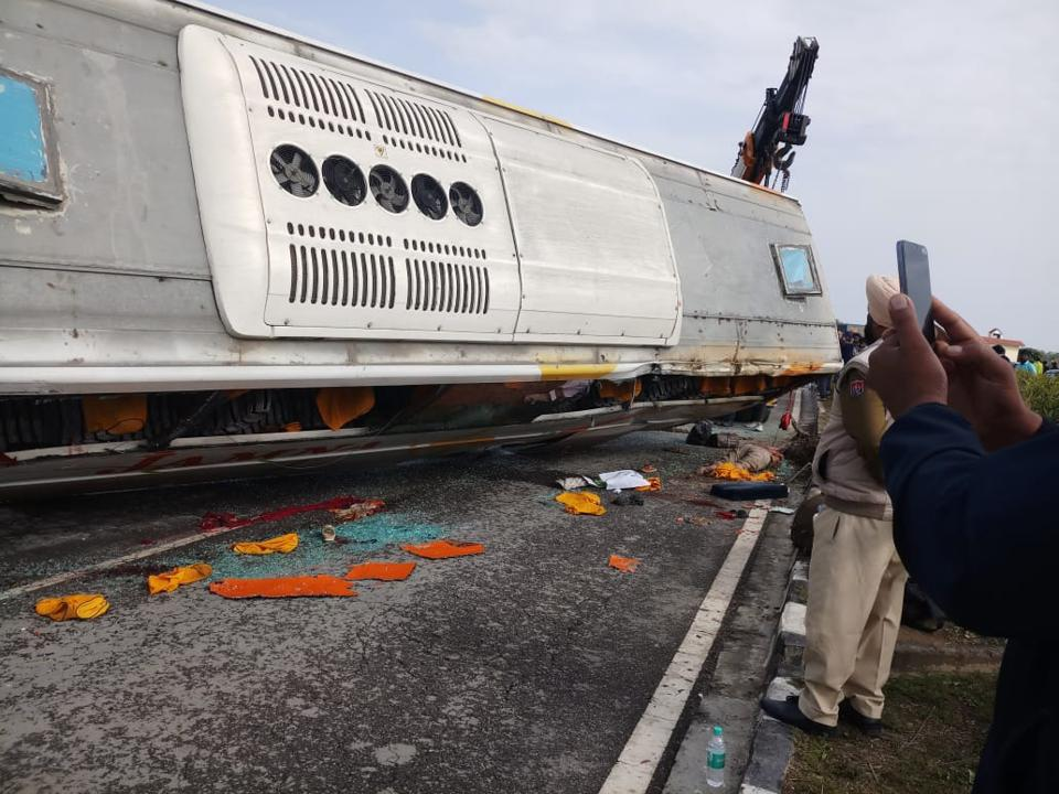 The bus met with an accident on Dhariwal bypass, 13 km from Gurdaspur.