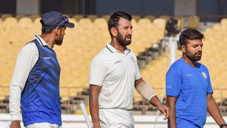 Saurashtra batsman Cheteshwar Pujara during Ranji Trophy final match.