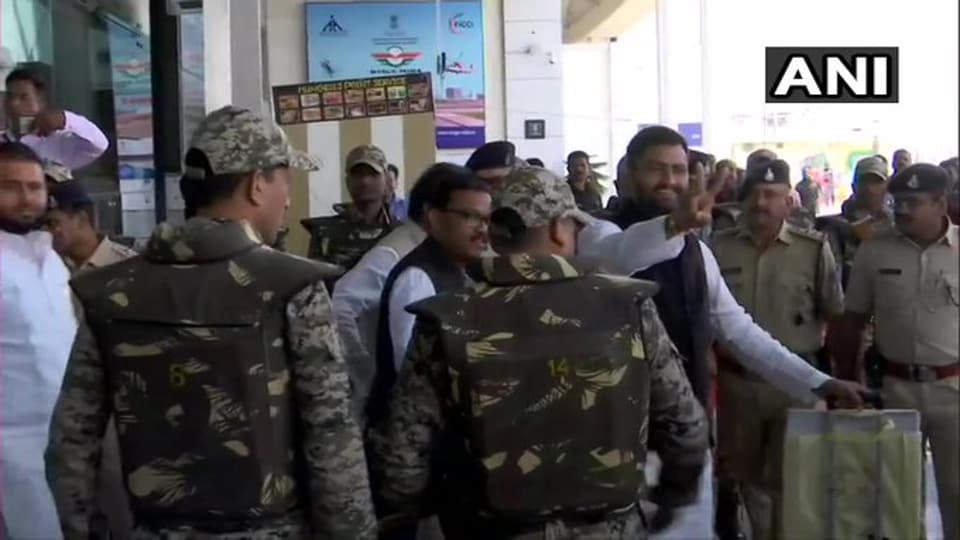 Congress MLAs arriving in Bhopal from Jaipur on Sunday to take part in Monday's trust vote in the Madhya Pradesh Assembly.