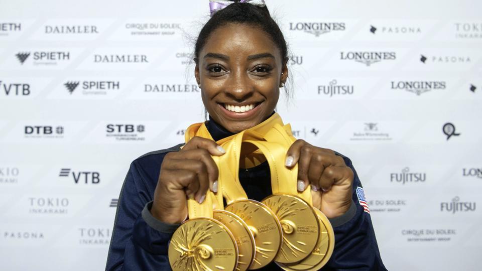 A file photo of USgymnast Simone Biles.