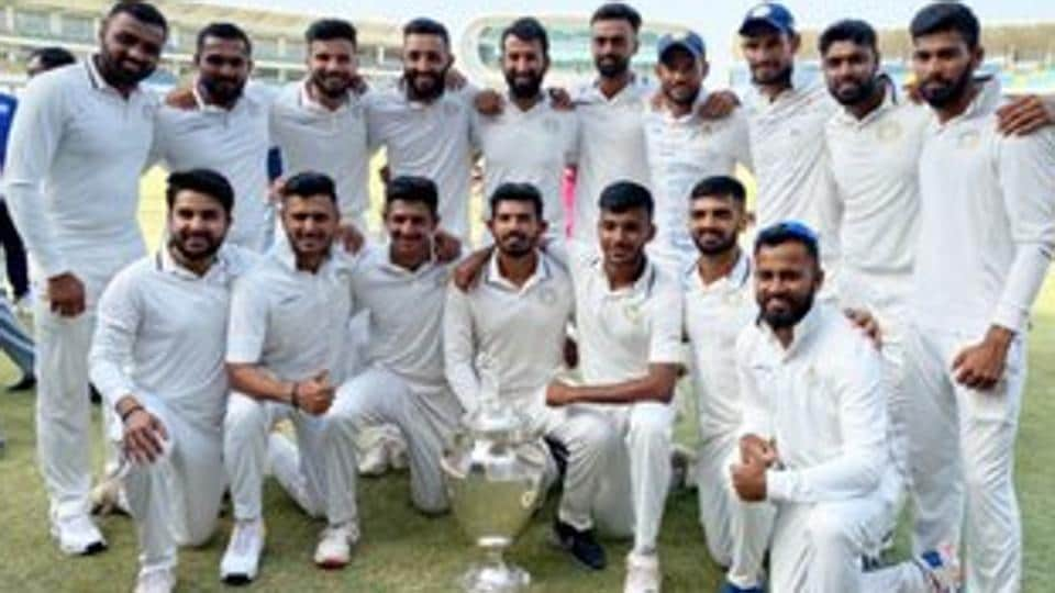 Saurashtra cricketers with the Ranji Trophy title.