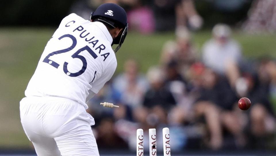 India's Cheteshwar Pujara is out bowled.