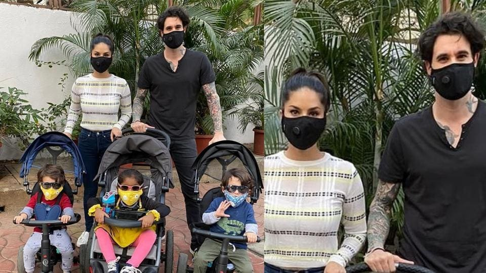 Sunny Leone, husband Daniel Weber and their kids wear masks for their outing.