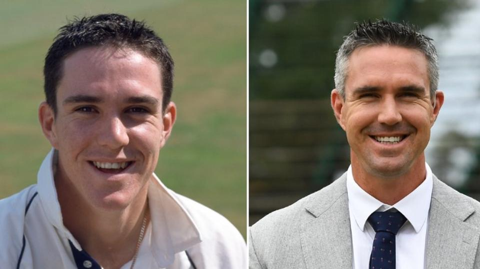 Images of Kevin Pietersen from 2001 and 2020 (R)