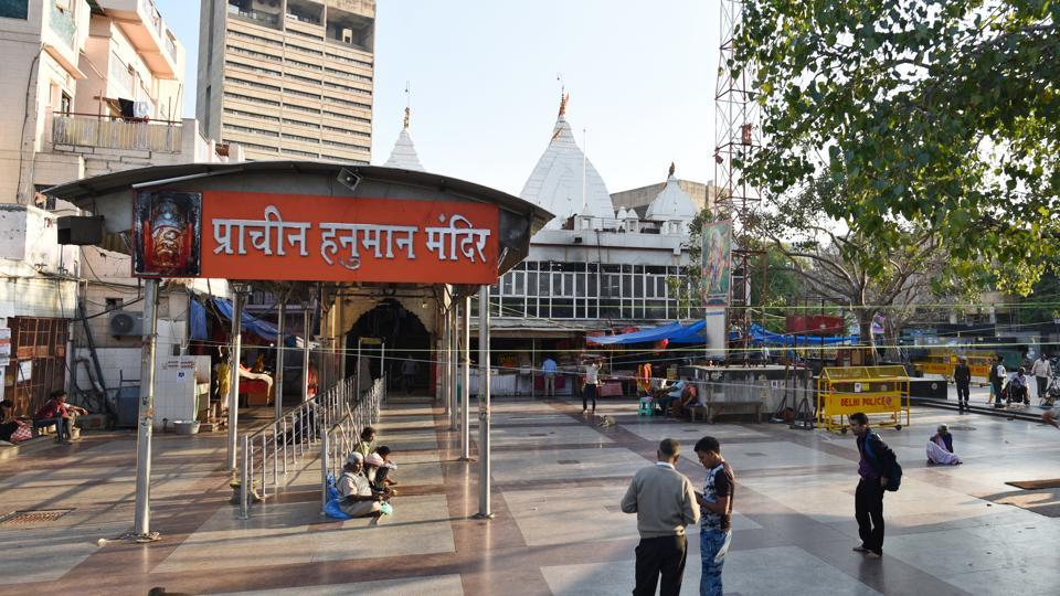 A deserted view of Hanuman Temple  at Connaught Place in New Delhi,  on Monday, March 16, 2020.
