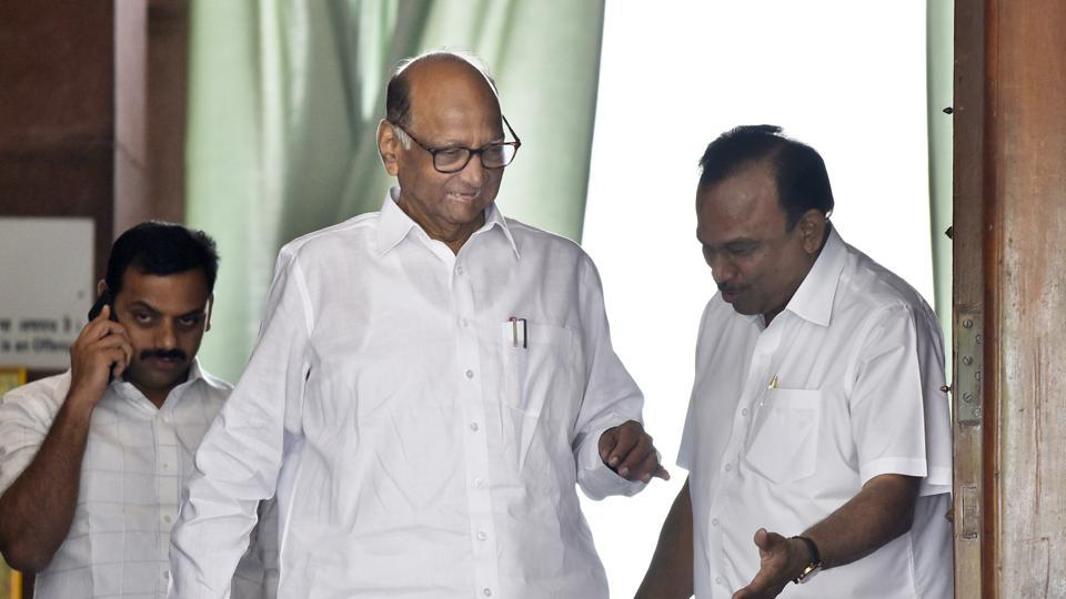 NCP  chief Sharad Pawar at Parliament House during the budget session, in New Delhi,  on Monday, March 16, 2020.