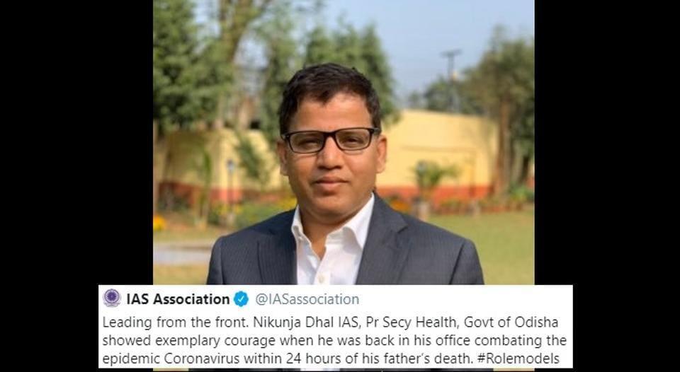 The IAS Association Twitter handle tweeted about IAS officer Nikunja Dhal.