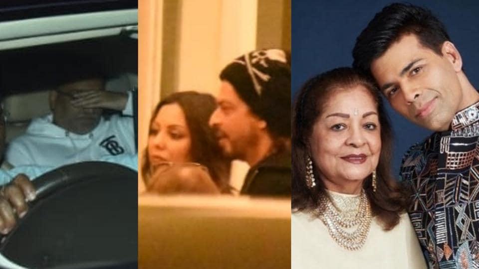 Aditya Chopra, Shah Rukh Khan and Gauri Khan attended Karan Johar's mother Hiroo Johar's birthday dinner on Wednesday.