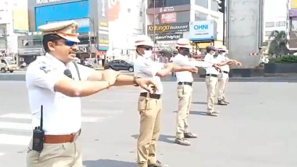 LB Nagar traffic police inspector Anjapalli Nagamallu, along with his constables, demonstrated the right way to wash one's hands with soap.