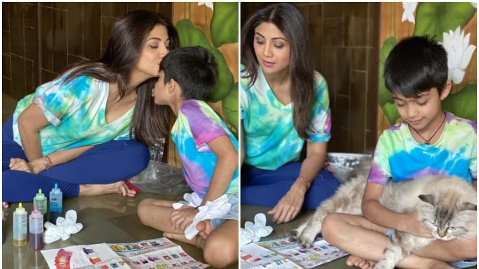 Coronavirus outbreak: Shilpa Shetty teaches son Viaan tie and dye skill during isolation, watch thumbnail