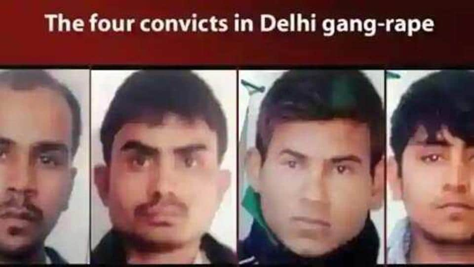 The bus' cleaners Mukesh Singh and Akshay Thakur, fruit-seller Pawan Gupta and gym instructor Vinay Sharma were hanged simultaneously inside Tihar Jail number 3.