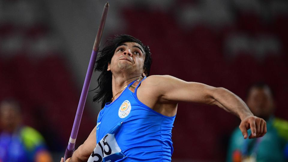 India's Neeraj Chopra competes in the final of the men's javelin throw.
