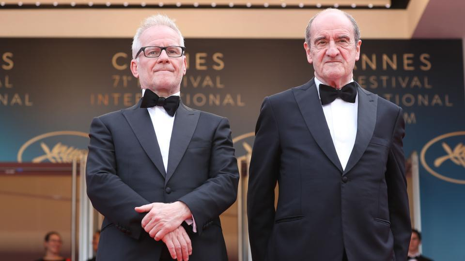 (Files) The Cannes film festival will not take place as planned in May, it was announced on March 19, 2020 amid concerns over the spread of Covid-19 (new Coronavirus). Seen in this picture are General Delegate of the Cannes Film Festival Thierry Fremaux (L) and the President of the Cannes Film Festival Pierre Lescure at last year's festival.
