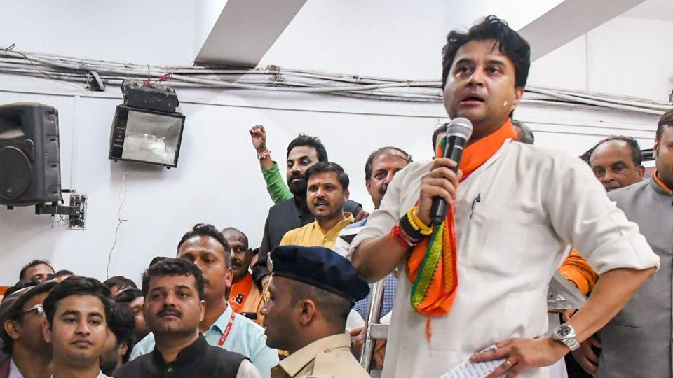 BJP leader Jyotiraditya Scindia addresss the party workers, at party headquarters in Bhopal.