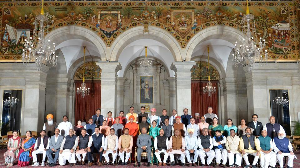 Mary Kom (third from left in middle row) with other Members of Parliament at the Rashtrapati Bhavan.