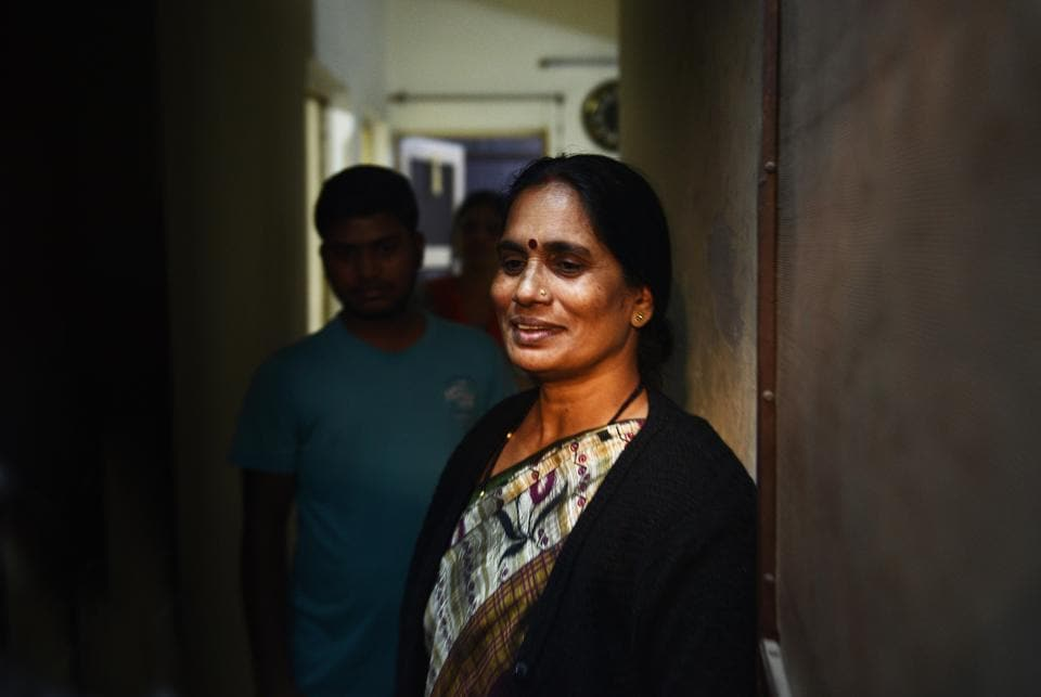 Asha Devi, mother of the 2012 Delhi gang rape victim is seen at her residence after the four convicts were hanged today, at Dwarka, in New Delhi.