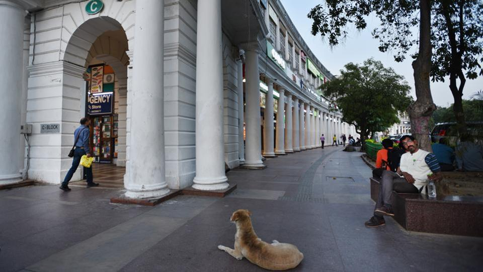 A near empty view of the corridors of Connaught Place market due to people keeping away amid Coronavirus concerns, in New Delhi.  (Ajay Aggarwal / HT Photo)