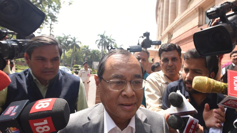 Former Chief Justice of India Ranjan Gogoi leaves Parliament House after taking oath as a nominated member of Rajya Sabha during the ongoing Budget Session. As his name was called for oath-taking, members of opposition parties raised slogans against his nomination and staged a walkout. (Sonu Mehta / HT Photo)