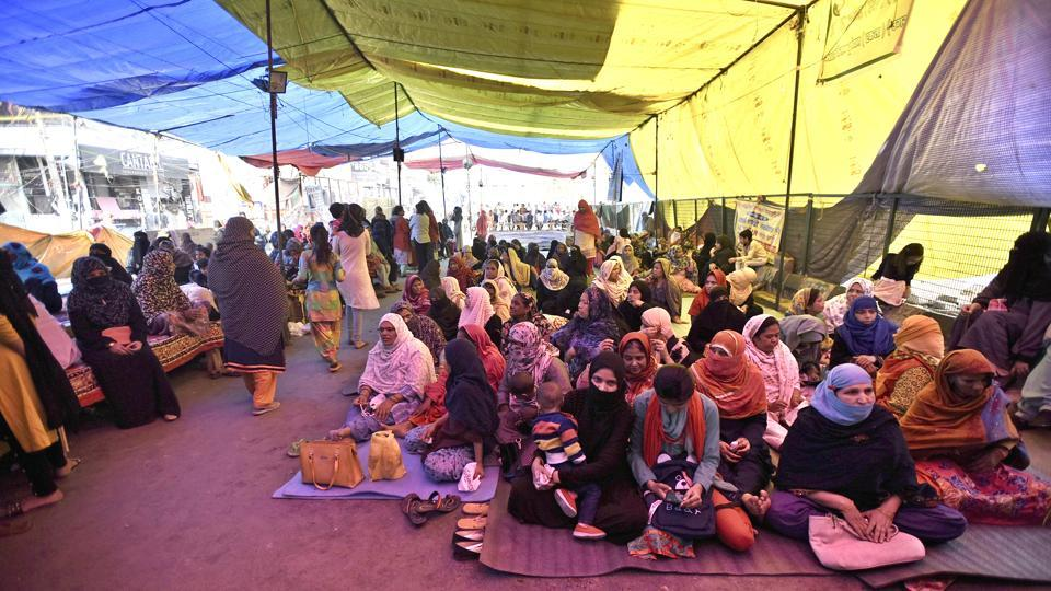 Women seen protesting against the CAA, NRC and NPR at Shaheen Bagh in New Delhi on March 13, 2020.