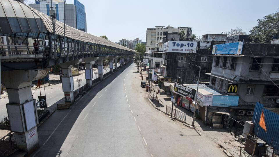 Deserted view outside Andheri station, as India to observes