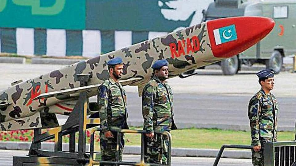 A Pakistani-made Cruise missile Ra'ad is shown during a military parade to mark Pakistan's Republic Day in 2016. (PTIfile photo)