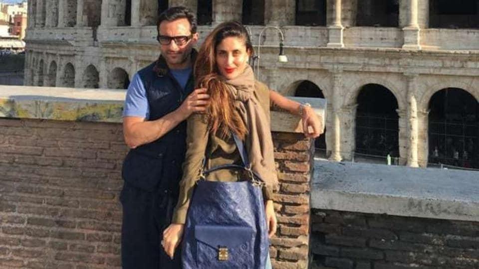 Kareena Kapoor and Saif Ali Khan pose in Rome against the Colosseum.