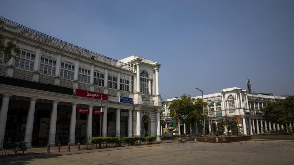 Shuttered stores at Connaught Place in Delhi.