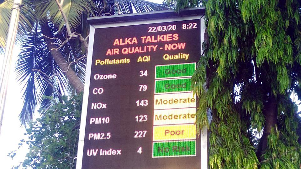 A board displaying Air Quality index amid the 'Janta Curfew, in Bengaluru on Sunday, March 22, 2020.