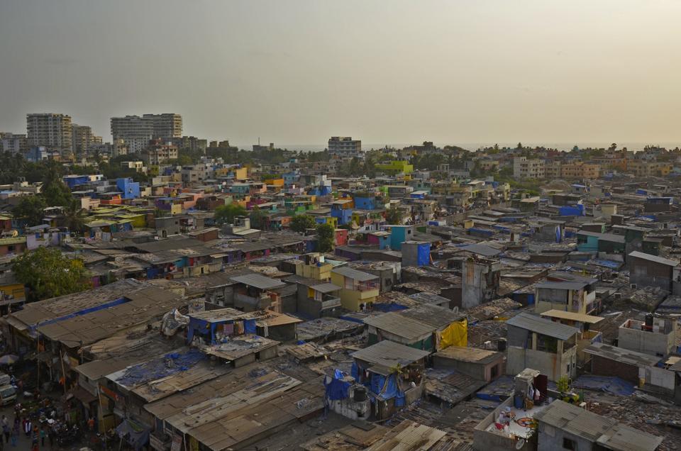 Mumbai, India - May 23, 2018: An aerial view slum of newly painted by 'Chal Rang De' at Khar Danda in Mumbai, India, on Wednesday, May 23, 2018. (Photo by Ragul Krishnan/ HT PHOTO)