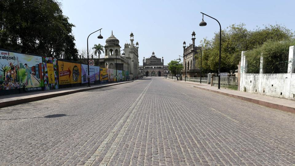 A view of a deserted road at Hussainabad in Lucknow, Uttar Pradesh, during the Janta Curfew  on Sunday, March 22, 2020.