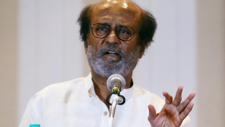 Actor-turned-politician Rajinikanth addressing a press conference in Chennai.