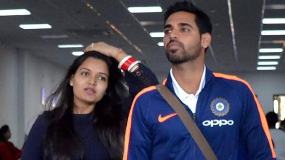Bhuvneshwar Kumar along with wife Nupur arrives at Gaggal airport near Dharamsala on Thursday, for the first ODI cricket match against Sri Lanka.