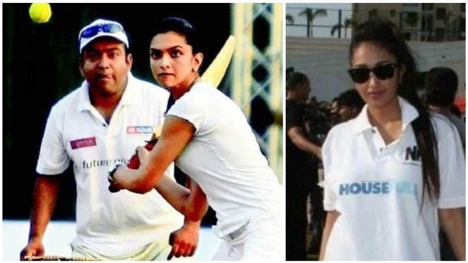 Deepika Padukone and Jiah Khan playing cricket in 2010.