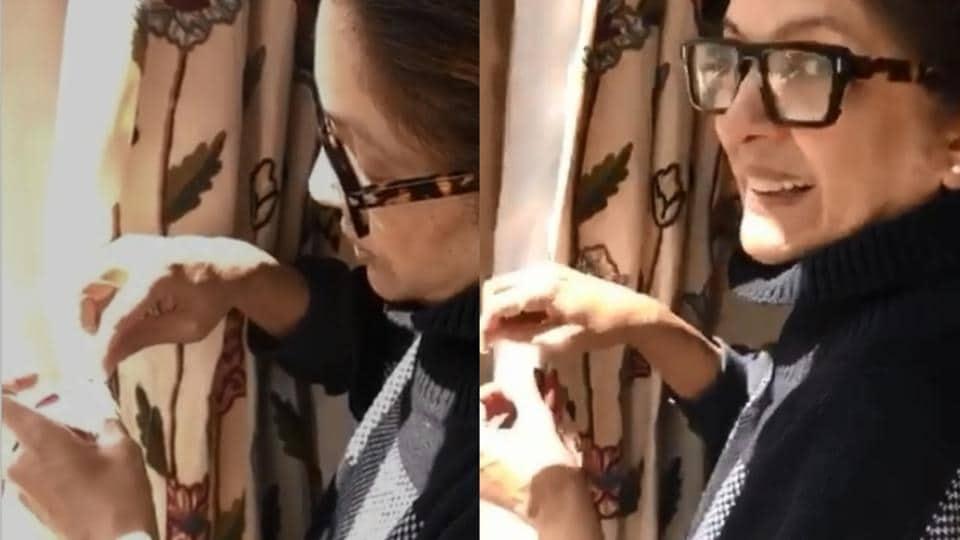 Neena Gupta sewing curtain belts.
