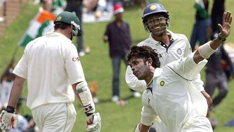Sreesanth celebrates after picking up a wicket during India's Test match against South Africa in Johannesburg in 2006.