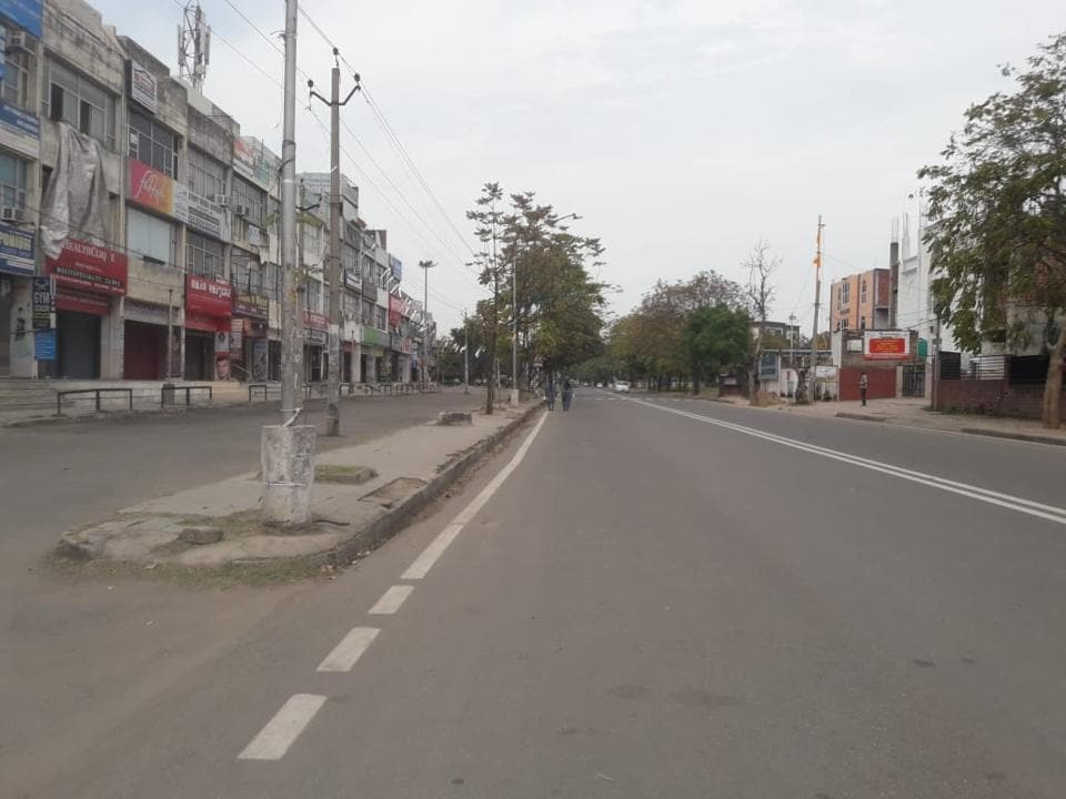 A deserted market of Phase 11 in Mohali on Tuesday after the curfew imposed by the Punjab government.
