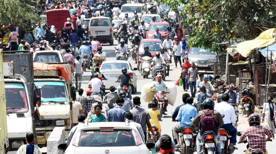 Heavy traffic during the first day of lockdown imposed by the state government to curb the spread of coronavirus, at Kokar locality, in Ranchi on Monday.